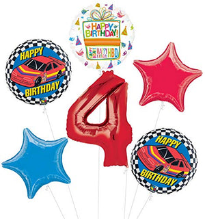 Race Car 4th Birthday Party Supplies Stock Car Balloon Bouquet Decorations
