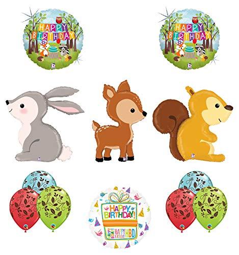 Mayflower Products Woodland Creatures Birthday Party Supplies Balloon Bouquet Decorations Squirrel Deer and Rabbit