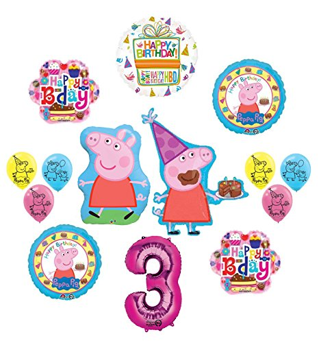 Peppa Pig 3rd Birthday Party Supplies   kit