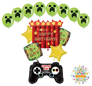 Miner Pixelated TNT Video Game Birthday Balloon Bouquet Decorations With Game Controller