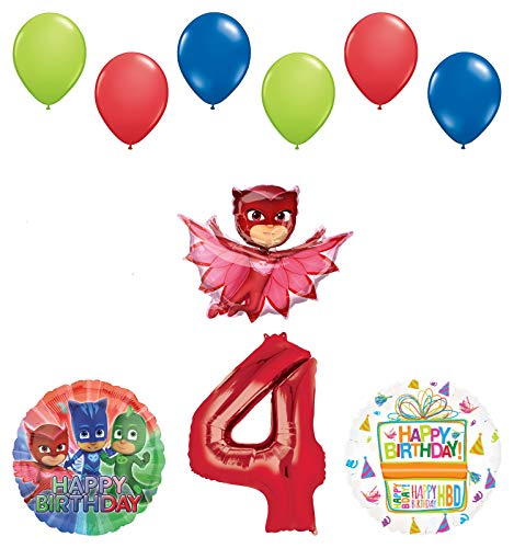 Mayflower Products PJ Masks Owlette 4th Birthday Party Supplies Balloon Bouquet Decorations