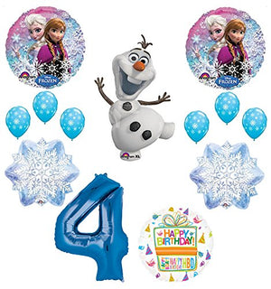 Frozen 4th Birthday Party Supplies Olaf, Elsa and Anna Balloon Bouquet Decorations Blue #4