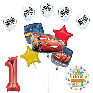 Disney Cars 3 Lighting McQueen 1st Birthday Party Supplies and Balloon Decorations