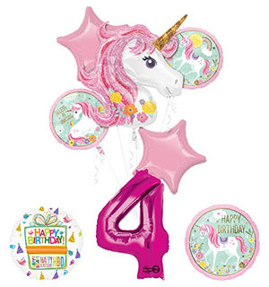 "Unicorn Party Supplies ""Believe In Unicorns"" 4th Birthday Balloon Bouquet Decorations"