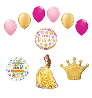 Beauty and The Beast Belle Crown Princess Balloon Birthday Party Supplies and Decorations
