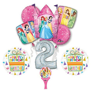 New! 9pc Disney Princess 2nd BIRTHDAY PARTY Balloons Decorations Supplies