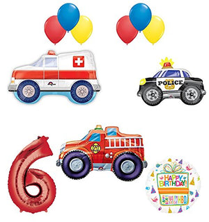 Team Rescue 6th Birthday Party Supplies and First Responders Balloon Bouquet decorations