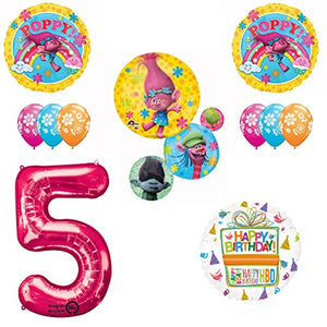 TROLLS Movie 5th Happy Birthday Party Balloons Decoration Supplies Poppy Branch Movie