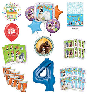 Secret Life of Pets 4th Birthday Party Supplies 8 Guest kit and Balloon Bouquet Decorations - Blue Number 4