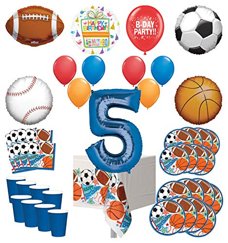 Mayflower Products Sports Theme 5th Birthday Party Supplies 8 Guest Entertainment kit and Balloon Bouquet Decorations - Blue Number 5