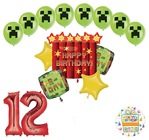 Miner Pixelated TNT Video Game 12th Birthday Balloon Bouquet Decorations