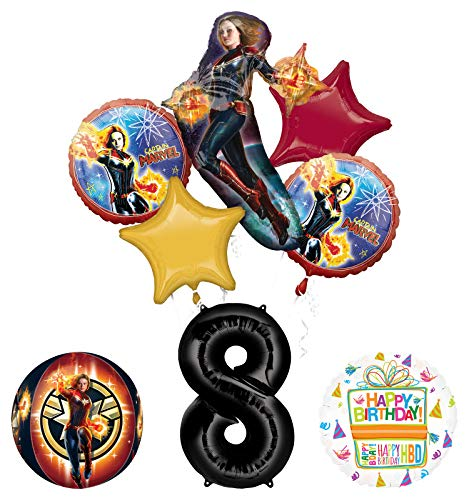 Mayflower Products Captain Marvel 8th Birthday Party Supplies Balloon Bouquet Decorations with 4 Sided Orbz Balloon