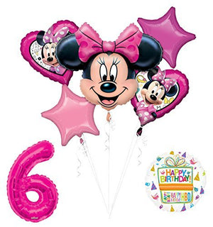 NEW Minnie Mouse 6th Birthday Party Supplies Balloon Bouquet Decorations