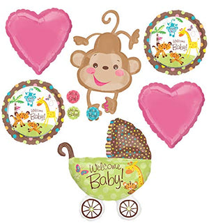 Mayflower Products Jungle Safari Welcome Baby Girl Shower Party Supplies Buggy and Monkey Balloon Bouquet Decorations
