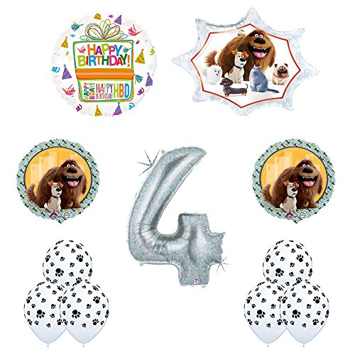 The Secret Life of Pets 4th Holographic Birthday Party Balloon Supply Decorations With Paw Print Latex