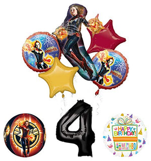 Mayflower Products Captain Marvel 4th Birthday Party Supplies Balloon Bouquet Decorations with 4 Sided Orbz Balloon