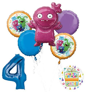 "Mayflower Products Ugly Dolls 4th Birthday Party Supplies 34"" Blue Number 4 Balloon Bouquet Decorations"