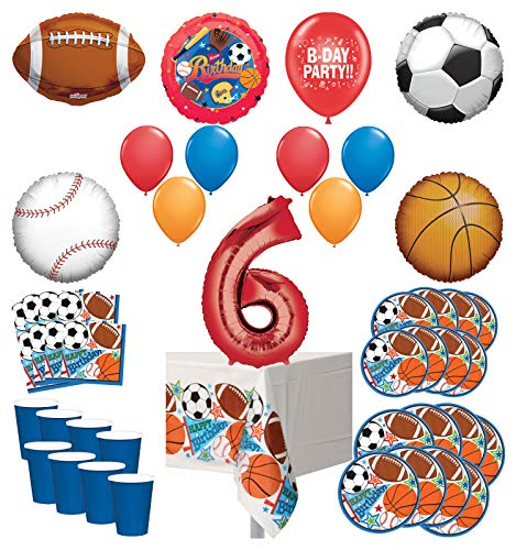 Mayflower Products Sports Theme 6th Birthday Party Supplies 8 Guest Entertainment kit and Balloon Bouquet Decorations - Red Number 6