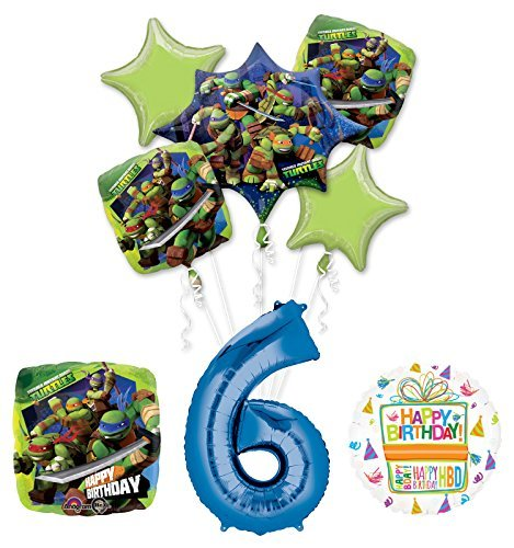 Teenage Mutant Ninja Turtles 6th Birthday Party Supplies and TMNT Balloon Bouquet Decorations