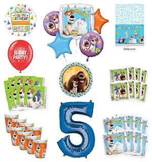 Secret Life of Pets 5th Birthday Party Supplies 8 Guest kit and Balloon Bouquet Decorations - Blue Number 5