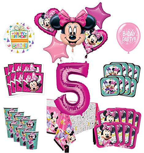 Mayflower Products Minnie Mouse and Friends 5th Birthday Party Supplies 8 Guest Decoration Kit and Balloon Bouquet
