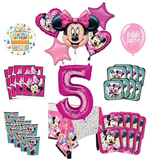 Mayflower Products Minnie Mouse 5th Birthday Party Supplies and 8 Guest Balloon Decoration Kit