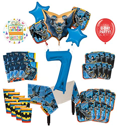Mayflower Products Batman 7th Birthday Party Supplies and 8 Guest Balloon Decoration Kit