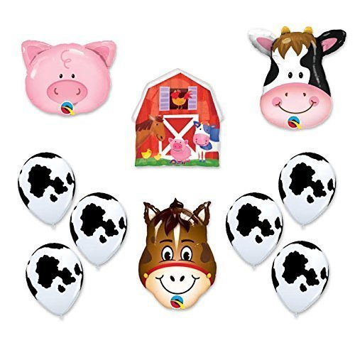 Barn Farm Animals Birthday Party Cow, Horse, Pig, Barn Balloons Decorations Supplies by Anagram