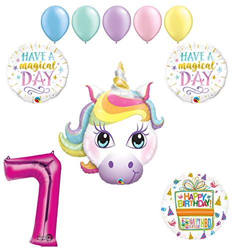 Magical Unicorn 7th Birthday Party Supplies and Balloon Decorations