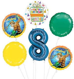 Aquaman 8th Birthday Party Supplies Balloon Bouquet Decorations