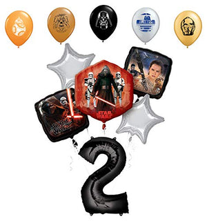 "Star Wars 2nd Birthday Party Supplies Foil Balloon Bouquet Decorations with 5pc Star Wars 11"" Character Print Latex Balloons Chewbacca, Darth Vader, C3PO, R2D2 and BB8"