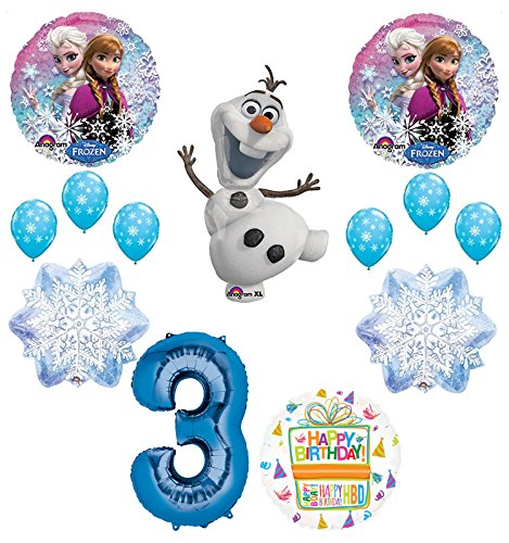 Frozen 3rd Birthday Party Supplies Olaf, Elsa and Anna Balloon Bouquet Decorations Blue #3