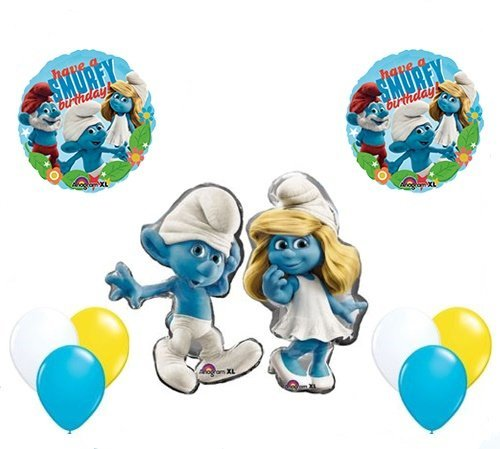 The Smurfs Birthday Party Supplies Smurf and Smurfette Smurfy Birthday Balloon Decorations