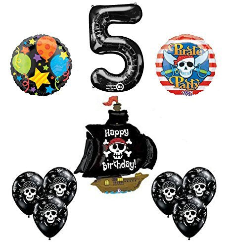 Black Pirate Ship 5th Birthday Party Supplies and Balloon Decorations