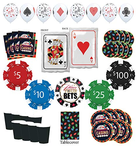 Mayflower Products Casino Party Supplies 8 Guest Entertainment kit and Poker Chips Balloon Bouquet Decorations