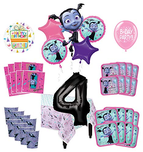 Mayflower Products Vampirina 4th Birthday Party Supplies 16 Guest Decoration Kit and Balloon Bouquet 90 pc