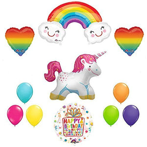 The Ultimate Rainbow Hearts Full Body Unicorn Birthday Party Supplies and Balloon decorations