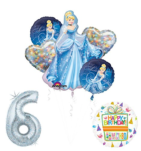 Cinderella 6th birthday party supplies and princess balloon decorations
