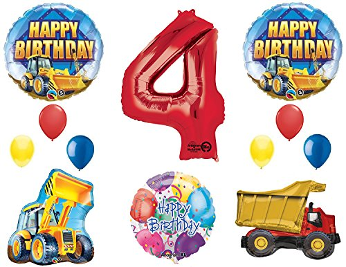 The Ultimate Construction 4th Birthday Party Supplies and Balloon Decorations