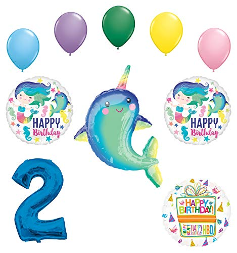 Mayflower Products Narwhal Party Supplies 2nd Birthday Mermaid Balloon Bouquet Decorations