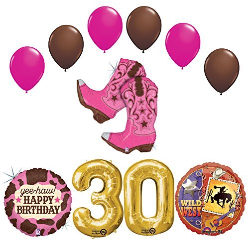 Wild Wild West Sweet 30th Cowgirl Boots Birthday Party Supplies and Balloons Decorations