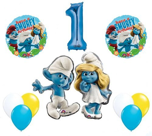 The Smurfs Birthday Party Supplies Smurf and Smurfette 1st Smurfy Birthday Balloon Decorations