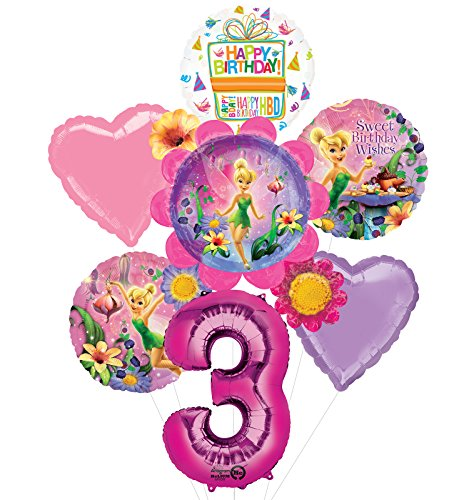 Tinkerbell 3rd Birthday Party Supplies Flower Cluster Balloon Bouquet Decorations