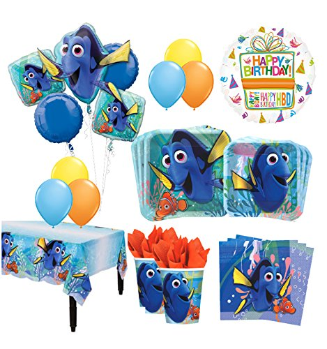 The Ultimate 16 Guest 94pc Finding Dory Birthday Party Supplies and Balloon Decoration Kit