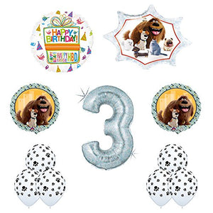 The Secret Life of Pets 3rd Holographic Birthday Party Balloon Supply Decorations With Paw Print Latex by Mayflower Products