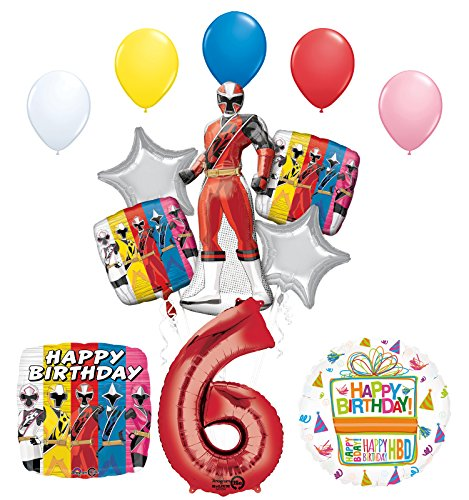 The Ultimate Power Rangers Ninja Steel 6th Birthday Party Supplies and Balloon Decorations