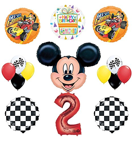 Mickey Mouse 2nd Birthday Party Supplies and Mickey Roadster Balloon Bouquet Decorations