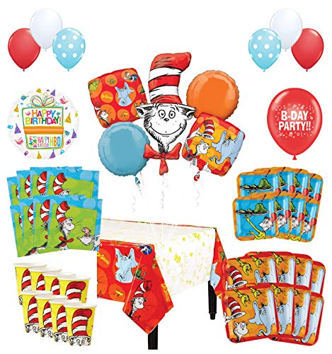 Mayflower Products Dr Seuss Birthday Party Supplies 8 Guest Decoration Kit and Balloon Bouquet