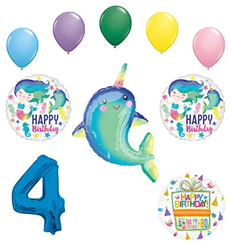 Mayflower Products Narwhal Party Supplies 4th Birthday Mermaid Balloon Bouquet Decorations