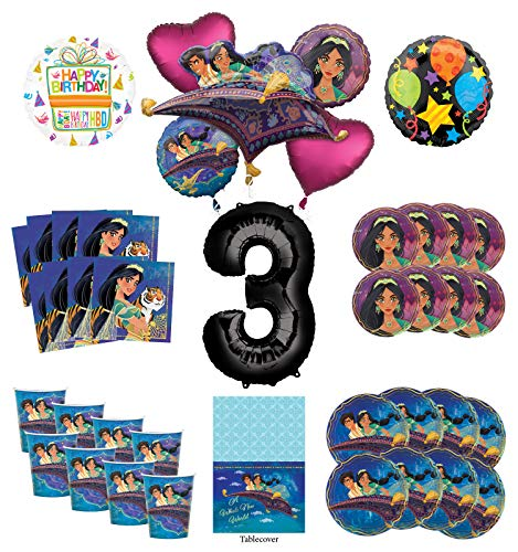 Mayflower Products Aladdin and Princess Jasmine 3rd Birthday Party Supplies 8 Guest Decoration Kit and Balloon Bouquet - Black Number 3